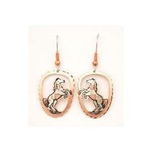 Copper & Gold Plated Earrings with Black Patina   Horse