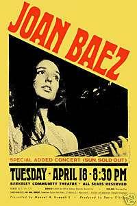 Joan Baez @ Berkeley Concert Poster 1967