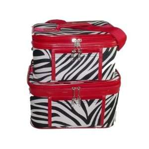Train Case Cosmetic Toiletry 2 Piece Luggage Set Red Trim