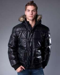 NEW Mens BUFFALO David Bitton JULO Fur Hooded Down Bomber Jacket Coat