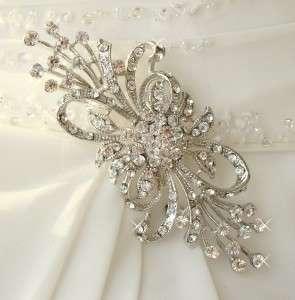 Silver Crystal Bridal Brooch Comb Cake Brooch
