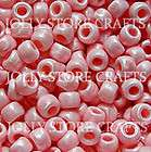 PINK PEARL 9x6mm Pony Beads 500pc crafts jewelry kids