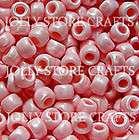 PINK PEARL 9x6mm Pony Beads 500pc crafts jewelry kids