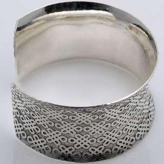 Tibetan Silver Wide Chinese Knot Cuff Bangle Bracelet