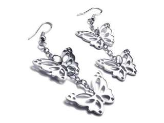 Womens Silver Tone Butterfly Stainless Steel Earrings