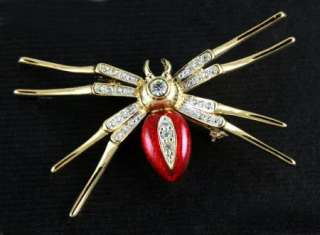 NEW RED SPIDER GOLD PLATED WITH CLEAR SWAROVSKI CRYSTALS PIN BROOCH