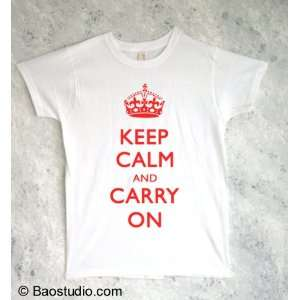 Keep Calm and Carry On (Red)   Pop Art Graphic T shirt (Womens Small)