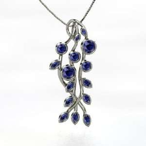 Large Vine Pendant, Round Sapphire 14K White Gold Necklace Jewelry