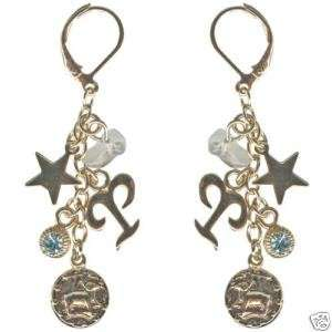 Kirks Folly Crystal Star Gazer Earrings Aries Zodiac
