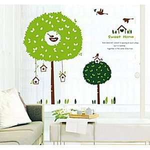 Wall Decor Removable Decal Stickers   Birds in Big Green