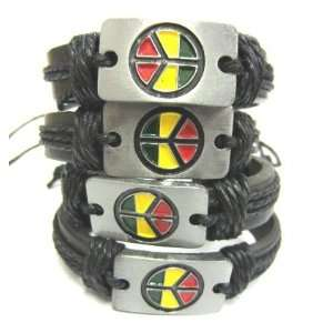 12 Unisex Surfer Ethnic Tribal Peace Symbol Metal 02 Leather Wristband