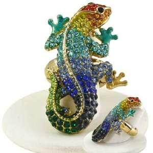 Gold Tone Multi Colored (Rainbow) Rhinestone Studded Lizard Stretch