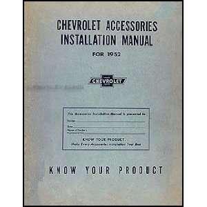 1952 Chevrolet Accessories Installation Manual Original Chevrolet