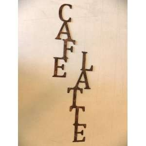 Cafe Latte Words Vertical Metal Wall Art Home Kitchen