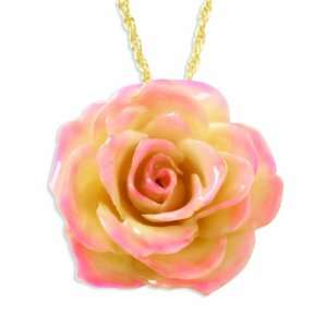Lacquer Dipped Cream & Pink Rose Pendant W/ Gold Plated