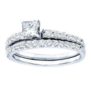 1 Carat Princess Round Diamond 14k White Gold Bridal Set