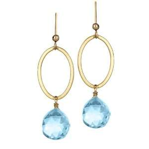 Gold Fill Blue Topaz Earring Swiss Blue Topaz Oval Earrings Jewelry