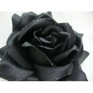 NEW Large Black Rose Hair Flower Clip and Pony Tail Holder