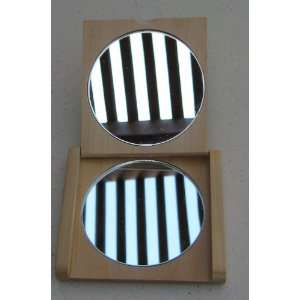 Small Wooden Flip Mirror   3 inches x 2 3/4 inches closed
