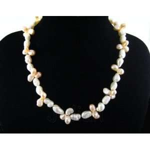 19 10mm White & Pink Freshwater Pearl Necklace J011