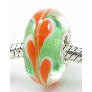 ) Pale Green with Orange Drop Design European Murano