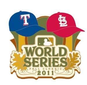 Official 2011 MLB World Series Pin Texas Rangers vs St Louis Cardinals