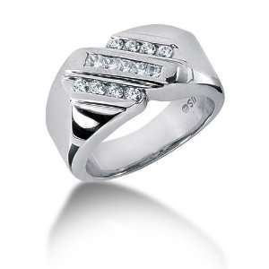 Ring Wedding Band Princess Cut Channel 14k White Gold DALES Jewelry