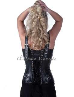 Gothic Black Leather Punk Overbust Corset Steel Shaper Bustier Plus