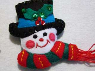 BUCILLA FELT ORNAMENT SET FACES OF CHRISTMAS COMPLETED~READY TO HANG