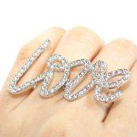 Big Swarovski Crystal Script LOVE Double Ring Sz Adjustable 14k Gold