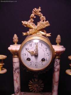 Antique 3 pc Gilt Bronze & Marble Clock Set 2 Matching Candelabras