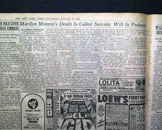 MARILYN MONROES DEATH SUICIDE REPORT Norma Jean Baker 1962 Newspaper