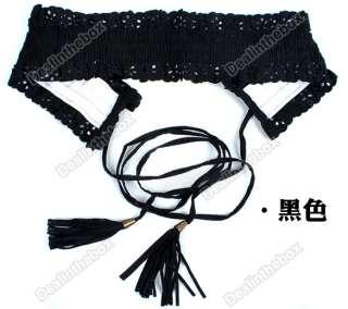 Fashion Lady Wide Elastic Stretch Fringe Lace Belt Waistband Black Red