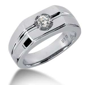 Ring Wedding Band Round Cut Prong 14k White Gold DALES Jewelry