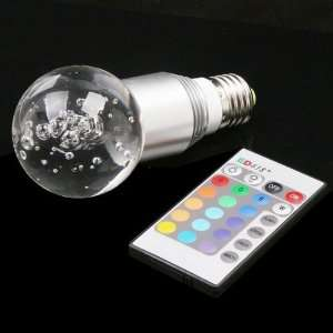 E27 3W 16 Color RGB Crystal Flash LED Light Bulb with Remote Control