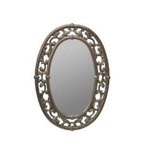 Oval Wall Mirror with Decorative Frame in Antique Bronze Finish