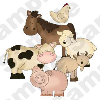 BARNYARD FARM ANIMALS ALPHABET LETTER COW PIG SHEEP WALL BORDER DECALS