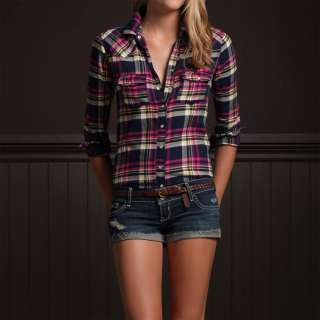NWT Hollister by Abercrombie Women Plaid Long Sleeve Shirt