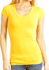 CLOUD NINE Womens Basic Solid Color V neck Neck Tee Shirt NEW