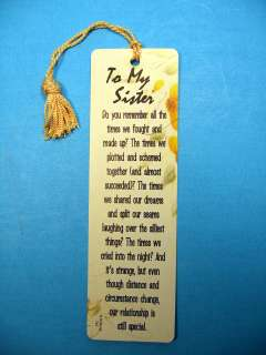 To My Sister Poem on a Tassel Bookmark (maise tassel) Sku# 745