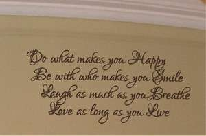 Happy Smile Laugh Love Wall Decal Home Decor