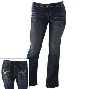 Juniors Plus Button Flap Pockets Bootcut PDJBM31157 Dark Blue Jeans