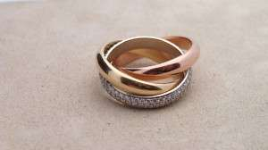CARTIER TRINITY 3 GOLD RING WITH 2.0 CTW DIAMONDS UK53 US6.5