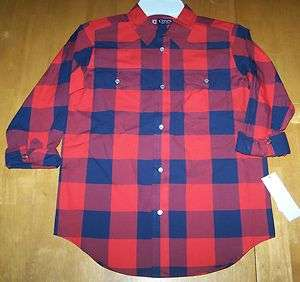 CHAPS boys multi color red blue stripe plaid long sleeve shirt SZ 7