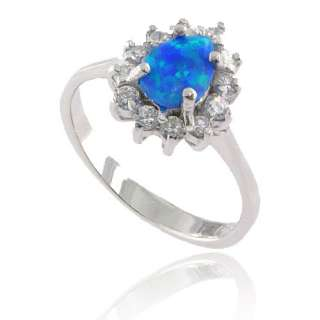 New Pear Synthetic Blue Opal Cocktail 925 Sterling Silver Womens