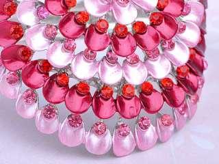 Ruby Rose Pink Enamel Paint Bead Crystal Rhinestone Peacock Bangle