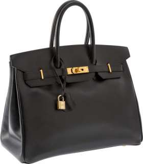 Hermes Classic Black Calf Box Leather 35cm Birkin Bag with Gold