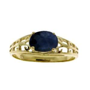 Genuine Oval Sapphire 14k Gold Filigree Ring Jewelry
