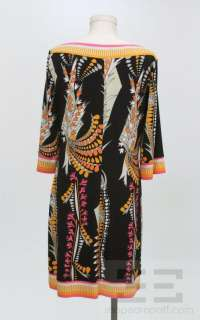 Ali Ro Black Multicolor Print Boat Neck 3/4 Sleeve Dress Size 12P