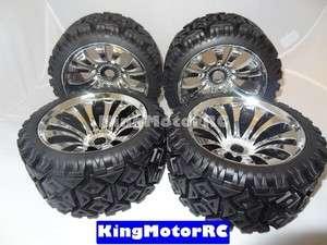 New HUGE Kingmotor T2000 All Terrian tires, chrome wheels fits HPI